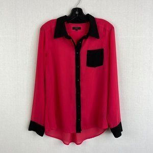 GUESS Bright Pink Button Up Top